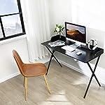 Alecono Computer Black Desk 120 cm Office Desk for Home Working Black Desk Workstation Sturdy Writing Desk with Raised…