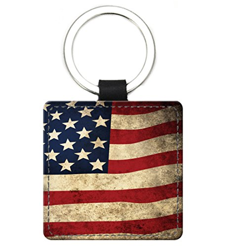 (Snaptotes American Flag Patriotic Design Leather Keychain Square)