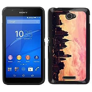 Horizonte de la ciudad Rosa Amarillo Nyc Sunset - Metal de aluminio y de plástico duro Caja del teléfono - Negro - Sony Xperia E4