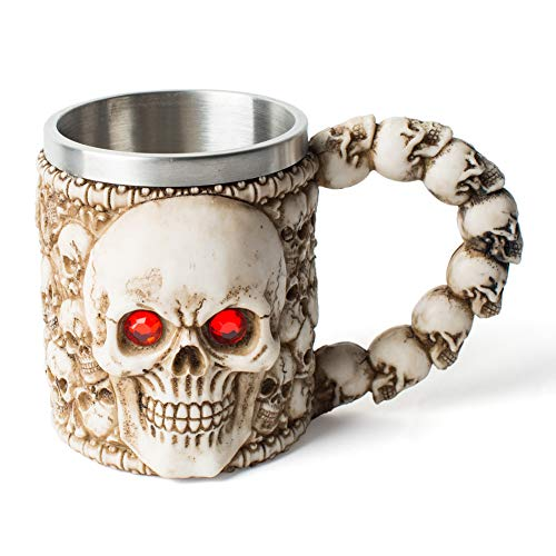 Viking Horn Drinking Cup Skull Coffee Cup Halloween Beer Mug for Men, Stainless Steel Mug Novelty Bar Coffee Cup Collection for Nordic Home -