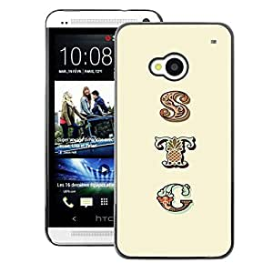 A-type Arte & diseño plástico duro Fundas Cover Cubre Hard Case Cover para HTC One M7 (Sty Pattern Text Yellow Initials Pattern)