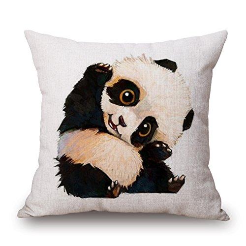 Joielavie Housse de Coussin Lin Coton Mélange Carré Fermeture à Glissière Taie d'oreiller Canapé Lit Home Maison Sofa 45X45cm - Mignon Panda #C