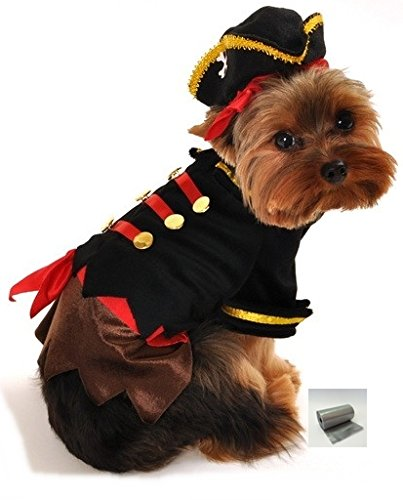 Dog Pirate Treasure Chest Costume (Ahoy Thar Mates! Buccaneer Pirate Dog Costume with bags – Dog Sizes XS thru L (S - Neck 10-12, Chest 14-18