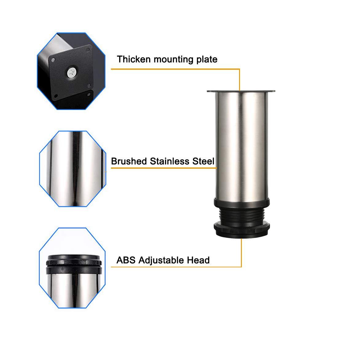 Altura ajustable Metal cromado Total: 120-135mm 4 unidades Patas de Metal muebles regulables armario de cocina pies redondo