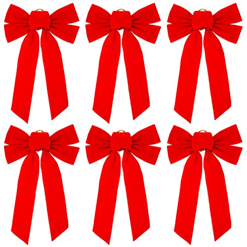 (Elcoho 6 Pack Red Velvet Christmas Bow Holiday Bows for Christmas Home Decoration, 10 × 16 Inches)