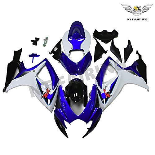 (NT FAIRING White Blue Injection Mold Fairing kits Fit for Suzuki 2006 2007 GSXR 600 750 K6 GSX-R600 Aftermarket Painted ABS Plastic Motorcycle Bodywork)