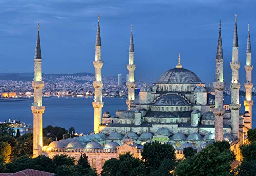 - PigBangbang,Famous Paintings Basswood - Street Lights Sultan Ahmed Mosque Istanbu - 300 Piece Jigsaw Puzzle (20.6 X 15.1'')