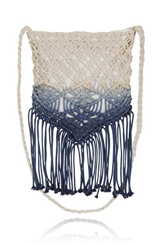 South Beach, Ladies Chunky Knit Lined Shoulder Bag, Cream and Blue, - South Beach Women