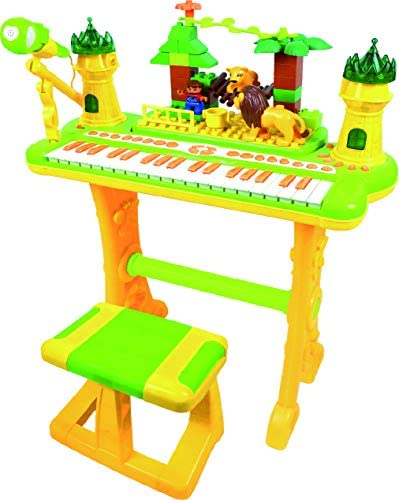 2 In 1 Electronic Musical Jungle Castle Piano Organ And Building Block Playset With Chair and Microphone By SkyMall / 2 In 1 Electronic Musical Jungle Castle Piano Organ And Building Block Playset With Chair and Microphone By SkyMa...