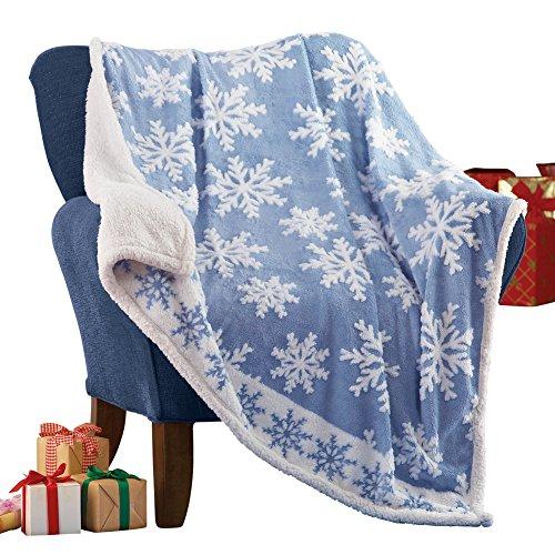 Collection Throw Blanket - Collections Etc Snowflake Sherpa Fleece Throw Blanket