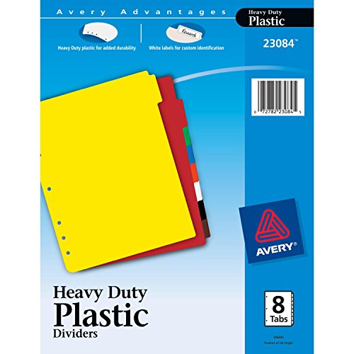 Avery Plastic Divider (Avery Heavy Duty Plastic Dividers, Letter Size, Assorted Colors, 8-Tab Set, 1 Set (23084))