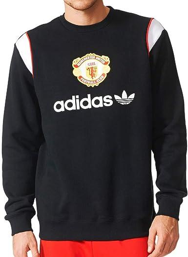 Amazon Com Adidas Originals Men S Manchester United Crewneck Soccer Sweatshirt X Small Black Clothing