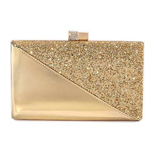 Sparkling Clutch Purse Elegant Glitter Evening Bags Bling Evening Handbag For Dance Wedding Party Prom Bride (Gold)