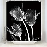 Crystal Emotion Mystic Tulip Flowers Florals Shower Curtains Fabric Polyester Bathroom Curtains with Hooks?¡§Trio X-Ray?? 72x72inch