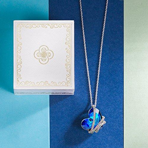 """J. Nina """"Cœur de l'océan"""" Signature Pendentif en cristal Collier en saphir avec cristaux Swarovski Femme Bijoux tendance"""