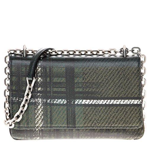 Prada Women's Tartan Print Saffiano Shoulder Bag Black Green