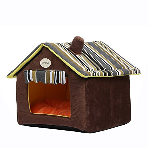 (SENYEPETS Soft Indoor Dog Houses Pets Sponge Material Portable and Great for Transportation and Short outings (XL, Coffee))