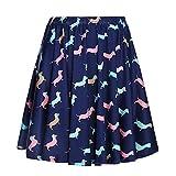 Fancyqube Women's Elastic Waist Dachshund Print Flared Mini Skirt Navy Blue M