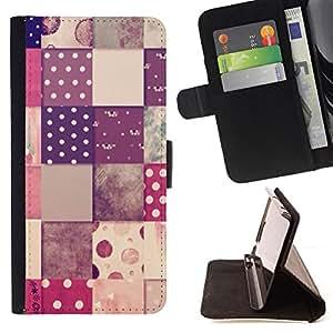 - checkered pattern polka dot design - - Prima caja de la PU billetera de cuero con ranuras para tarjetas, efectivo desmontable correa para l Funny HouseFOR Sony Xperia m55w Z3 Compact Mini