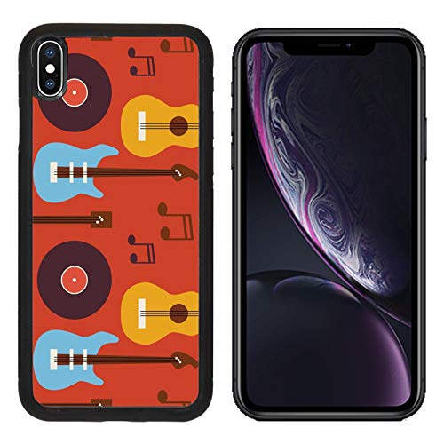 Luxlady Apple iPhone XR Case Aluminum Backplate Bumper Snap Cases ID: 42172068 Pattern Music Instrument Guitar Vinyl Disc and Note Flat Style Vector Seamless