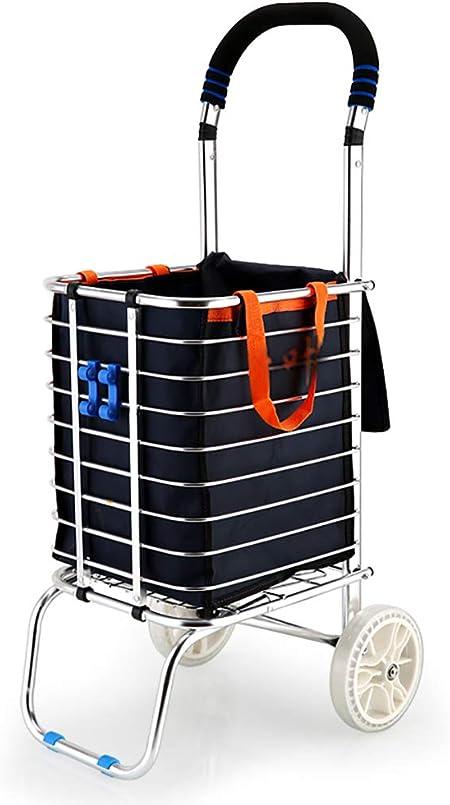 Carretillas de mano Carrito de compras plegable Escalera ligera Bicicleta de montaña Comestibles Carrito práctico con bolsa de lona extraíble y resistente construcción de aluminio ... carro plegable: Amazon.es: Hogar