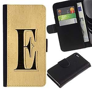 A-type (E Letter Every Elena Ellie Parchment) Colorida Impresión Funda Cuero Monedero Caja Bolsa Cubierta Caja Piel Card Slots Para Apple Iphone 4 / 4S