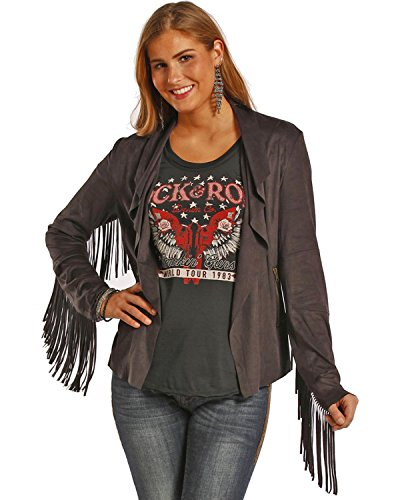 Powder River Outfitters Women's Fringe Short Microsuede Jacket Black X-Large - Black Microsuede Jacket