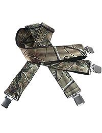 "Mens Utility Suspenders X Shape - Wide 2"" Solid Straight Clip Suspender (Camo Pattern)"