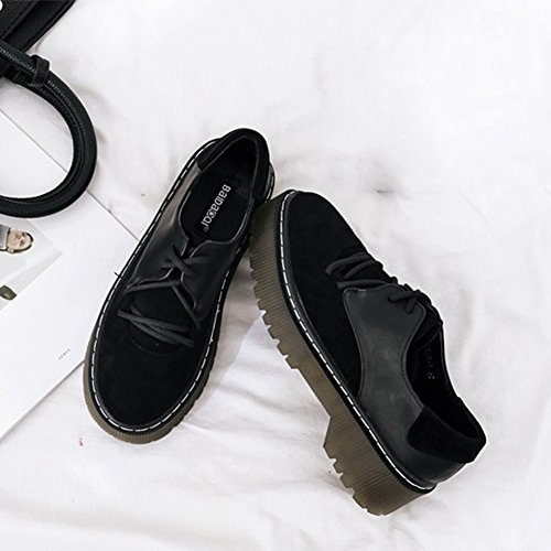 T Comfortable Shoes Black Wedges Round Suede Heel Classic Women's JULY Oxfords Lace up Toe Low Shoes rOqTrw