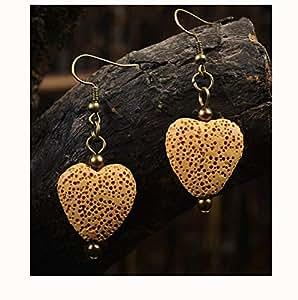 8 Colors Handmade Bohemian Earrings Heart Shape Natural Lava-Rock Stone Vintage Ethnic Earrings Jewelry Dangle Earrings for Essential Oil Diffuser