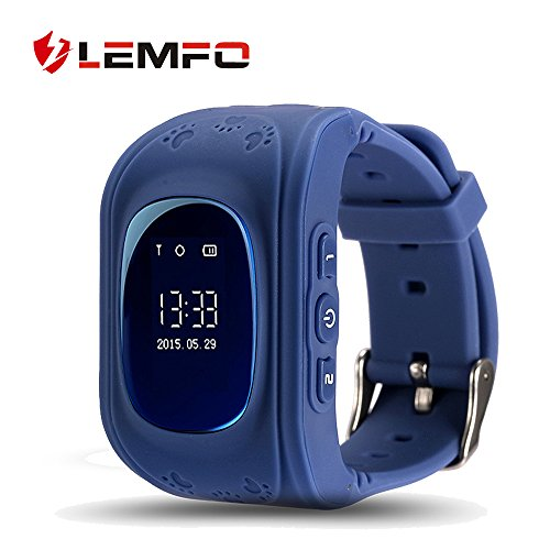 LEMFO Q50 Smart Watch GPS Smartwatch Phone Anti Lost SOS Call Children Finder Fitness Tracker WristWatch Bracelet Parents Control for iOS Android (Blue)