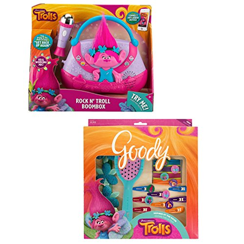 Dreamworks Trolls Boombox And Goody Trolls 25 Piece Hair Aessory Gift Pack