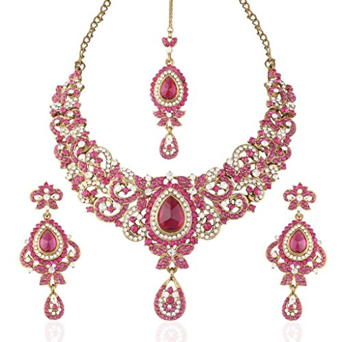 I Jewels Women's Traditional Gold Plated Stone Necklace Set with Maang Tikka Pink from I Jewels