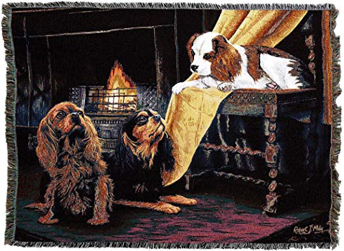 Pure Country Weavers - Cavalier King Charles Spaniel Woven Tapestry Blanket with Fringe Cotton USA 72x54