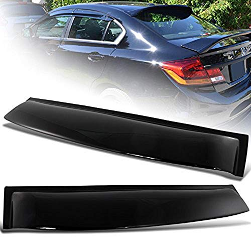 (S SIZVER ABS Plastic Rear Roof Tape-On Spoiler for 2006-2015 Honda Civic)