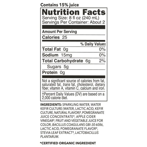 KEVITA Pomegranate Sparkling Probiotic, 15.2 Ounce (Pack of 6)