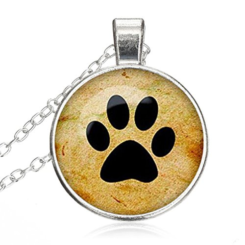 Women Small Round Disc Dog Paw And Footprint RoundGlass Cabochon Jewelry Pendant Necklace Gift for - Roundglasses