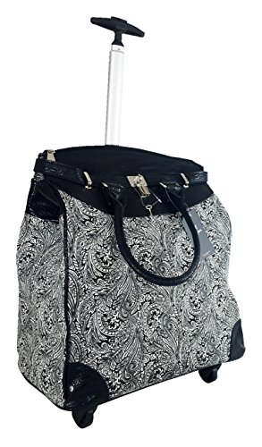 Stylish Rolling Briefcase (Trendy Flyer Computer/Laptop Rolling Bag 4 Wheel Case Paisley Leaf)