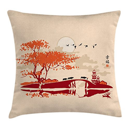 Red Accent Temple (Asian Throw Pillow Cushion Cover by Lunarable, Pagoda Bridge and Dramatic Sky Gulls Over Sunset Banner Temple Culture Artprint, Decorative Square Accent Pillow Case, 26 X 26 Inches, Red Orange Cream)