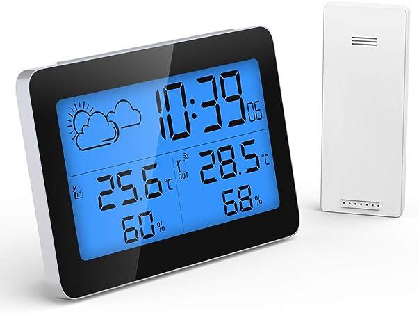 Funk Wetterstation Wecker Uhr Innen Außen Thermometer Hygrometer Digital LCD