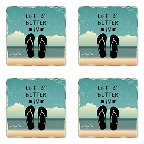 Ambesonne Flip Flop Coaster Set of Four, Scribbled Hand Drawn Style Beach Sandals with a Message on Oceanic Background, Square Hardboard Gloss Coasters for Drinks, Multicolor