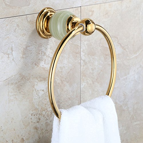 LHbox Tap Natural Jade Full Brass Towel Ring Gold Bathroom Towel Rack Mount Bath Towel Hook, Titanium Gold A Full Copper Material