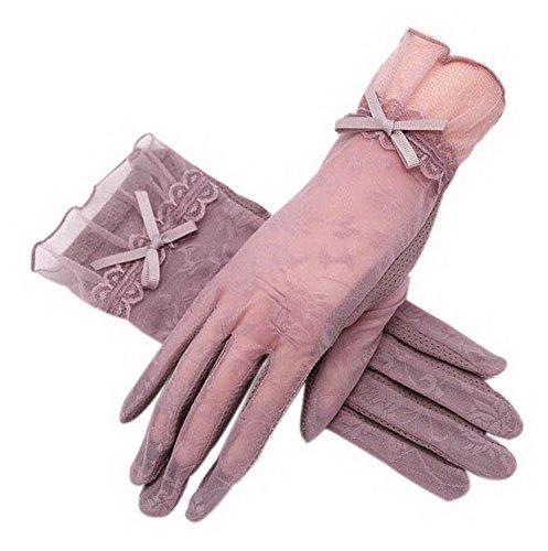悲惨免除スライム日焼け止めグローブ運転ちょう結びレース氷シルクショートタッチスクリーン手袋、紫