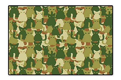 Stain Resistant Rug Soldier Kittens Protective Cat Army Theme Defense Jungle Colors Military Green Dark Green Cream for Living Room Dining Room Family  4'x5'