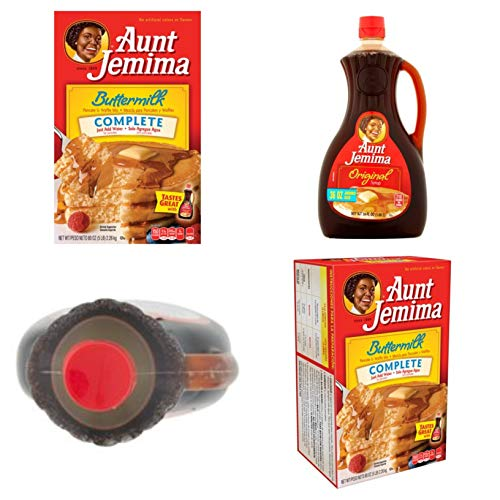 Original Flavor Durable (Pack of 6 Aunt Jemima Buttermilk Complete Pancake & Waffle Mix 80 oz. Box Bundle with Pack of 2 Aunt Jemima Original Syrup, Jumbo Size, 36 fl oz)