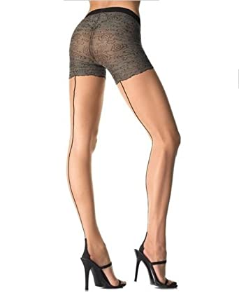 27e6e418855 Byrlinlin Sexy Lycra Sheer Contrast Cuban Heel Seamed Pantyhose with Faux  French Knickers Pattern - Nude   Black - UK Size 8-12  Amazon.co.uk   Clothing