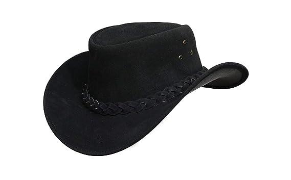 b4c3f2ab9341e Australian Leather Hat with Braided Band Original Cowboy Aussie Bush Hat  (S