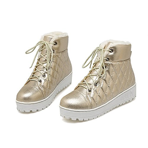 Allhqfashion Toe Heels Gold Women's Material top Lace Low Boots Round Low Closed Soft up 001RnrxB