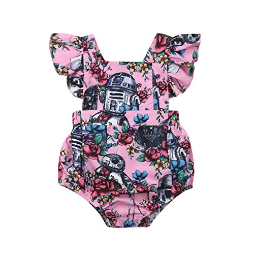 Summer Newborn Toddler Sleeveless Jumpsuit Floral Print Backless One-Piece Swimsuit Star Wars Ruffled One-Piece Jumpsuit (Pink, 6-9M)