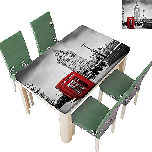 Printsonne Indoor/Outdoor Red Telephone Booth and Big Ben in London,England,The UK People Walking in Rush Kitchen Tablecloth Picnic Cloth 54 x 120 Inch (Elastic Edge)